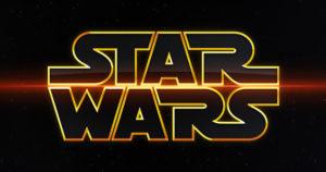 Star Wars logo - gold on black, fancier font, red line through